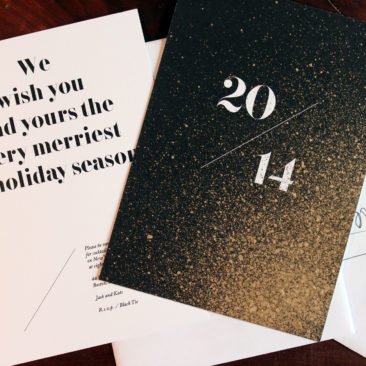 Gold Leaf Holiday Cards and New Year's Invitations
