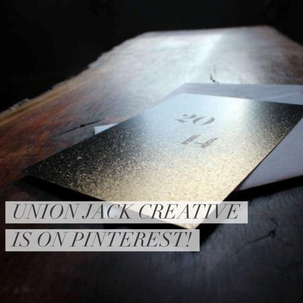union jack creative is on pinterest // gold and black invitation on wood table